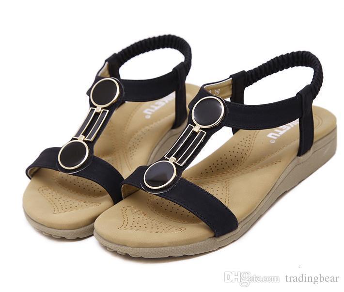 Plus Size 35 tot 40 Concise T-riem Platte vrouwen Zomer Mode Beach Sandalen Schoenen