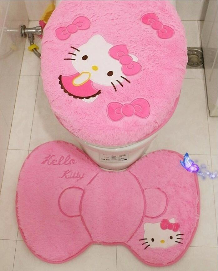 Hello kitty bathroom set toilet set cover wc seat cover bath mat holder closestool lid cover free shipping 4pcs set. Hello Kitty Bathroom Set Toilet Set Cover Wc Seat Cover Bath Mat
