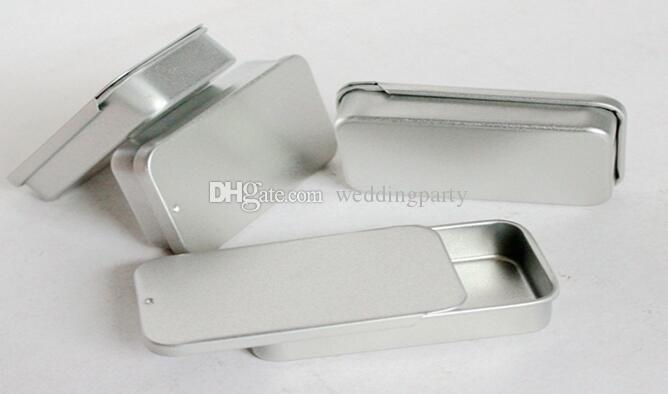 1000pcs Atacado / top box estanho monte de prata lisa cor de slides, caixa caso usb retângulo DHL Fedex frete grátis