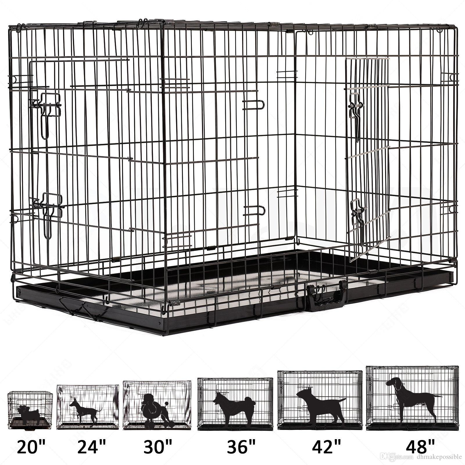 Marvelous 2019 42 2 Doors Wire Folding Pet Crate Dog Cat Cage Suitcase Kennel Playpen With Tray From Dhmakepossible 40 49 Dhgate Com Machost Co Dining Chair Design Ideas Machostcouk