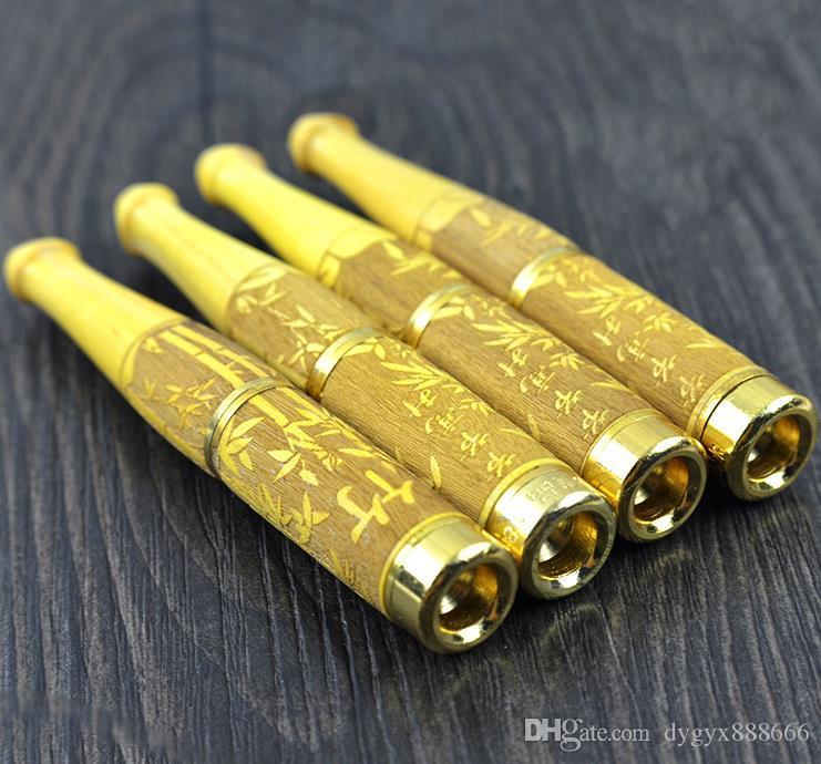 Sigaretta in legno di pioppo giallo naturale oro 18 carati processo di intaglio portasigarette super filtro portasigarette legno di sandalo, bong in vetro,