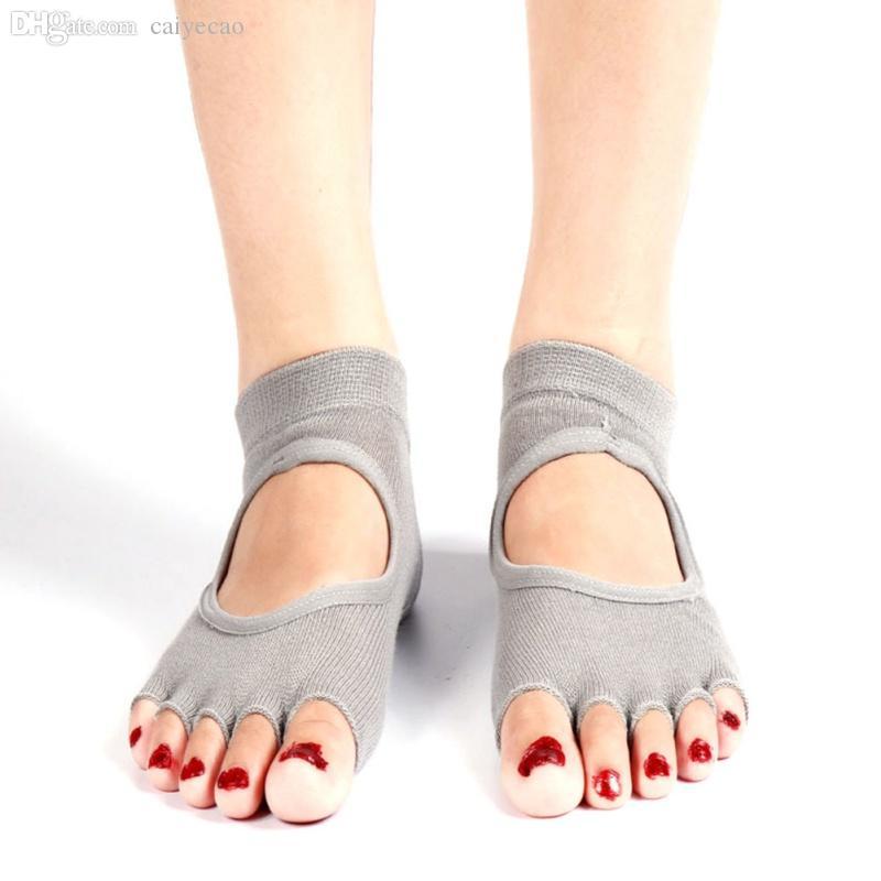 Al por mayor-Super Comfort Durable calcetines medio dedo del pie agarre del tobillo cinco dedos antideslizante 1 par