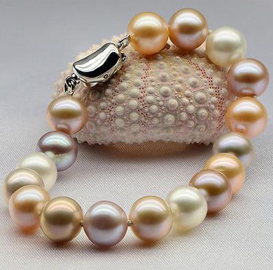 Nobby 9-10 мм круглый южный морской многоцветный жемчужный браслет 7.5-8 дюймов 925 серебро