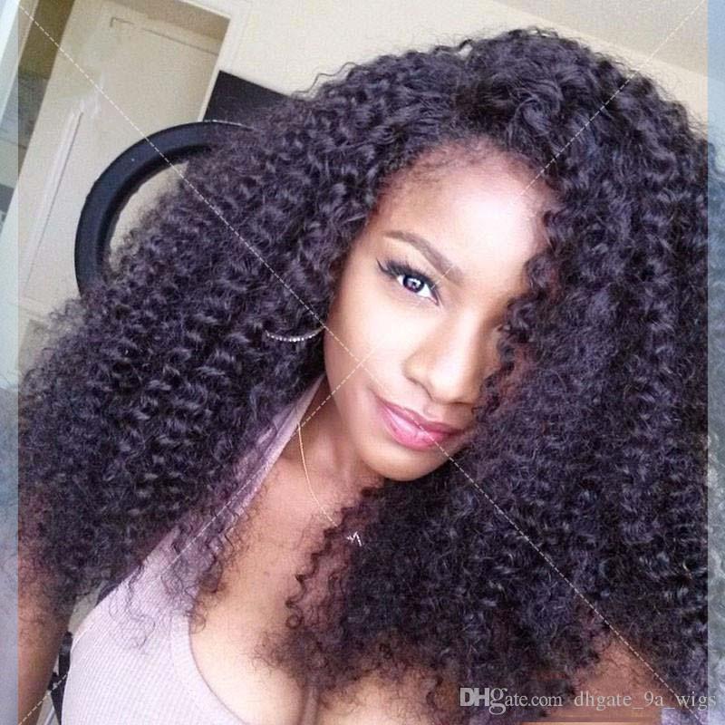 İpek Baz Tam Dantel Peruk Kinky Kıvırcık İpek Üst Tam Dantel İnsan Saç Peruk Siyah Kadınlar Için Brezilyalı Saç Dantel Frontal Peruk