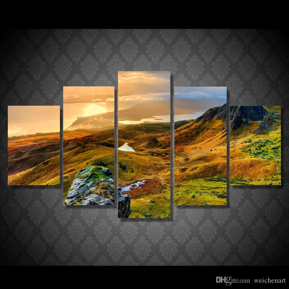 İskoçya Dağı Of 5 Paneli HD Baskılı Isle Tuval Odası Dekor Poster Resim Tuval Duvar Boyama Baskı Baskı Boyama