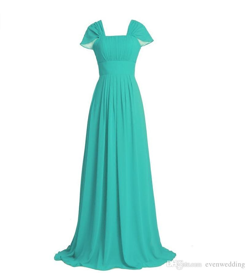 Long Chiffon Country Bridesmaid Dresses Lace Up 2018 Turquoise Purple Wedding Formal Dresses With Cap Sleeves