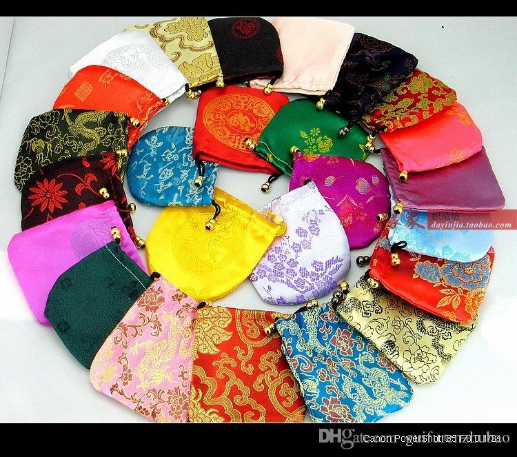 حقائب رخيصة الصغيرة الرباط الحرير للمجوهرات هدية الحقائب الصينية التغليف الحقيبة 50pcs / lot بالجملة