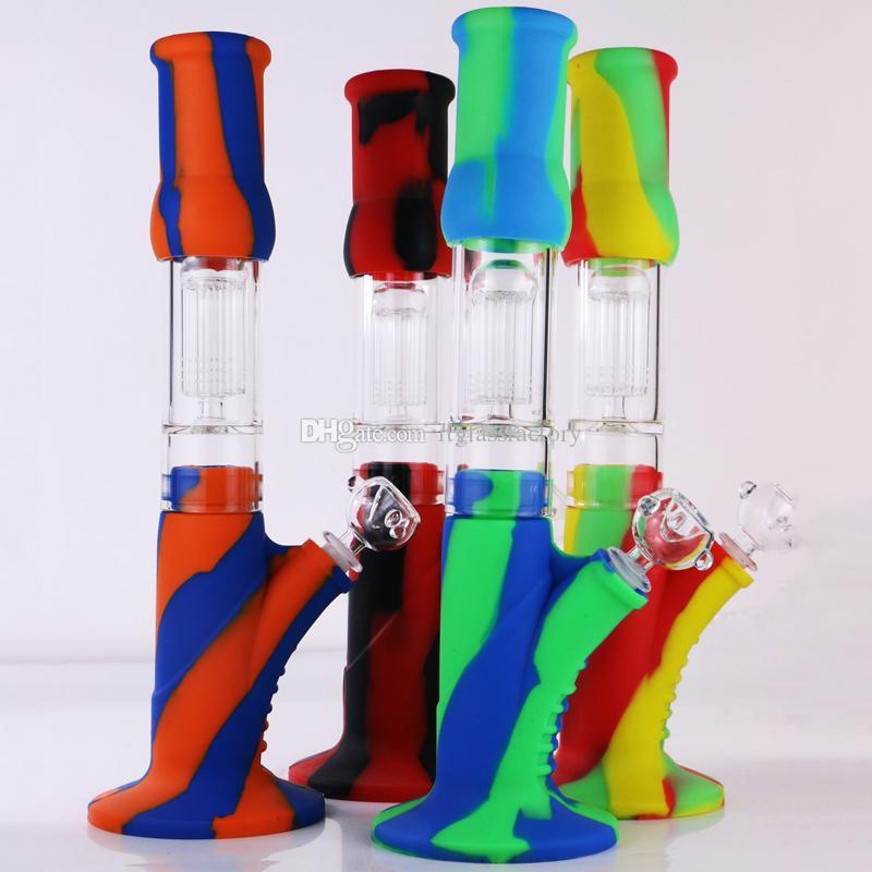 14 '' New Arrival Silicone Bongs com vidro de 8 braços Árvore Perc sílica gel Durable Bong Dab plataformas petrolíferas para Fumar cachimbo