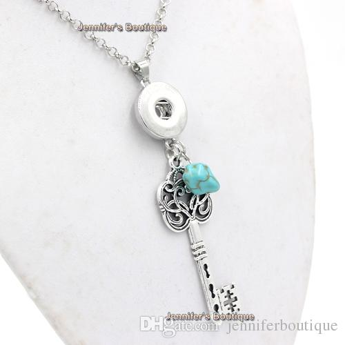 New Arrival Interchangeable 18mm Metal Button Jewelry Vintage Key Pendant Necklace DIY Necklace for Snap Jewelry