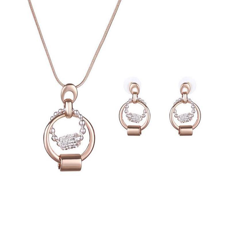 Neueste einfache Kristallhalsketten-Ohrringe stellten Art- und Weisefrauen-Zusatz 18kgp runde Schmuck-Sets 2 Farben 5Sets / lot 61152069 ein
