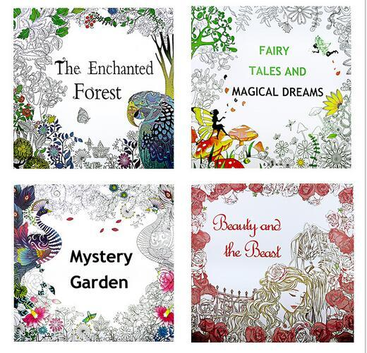 4 DesignsKids Adult Coloring Books Mystery Garden Beauty And Beast Magical Dream Enchanted Forest 24