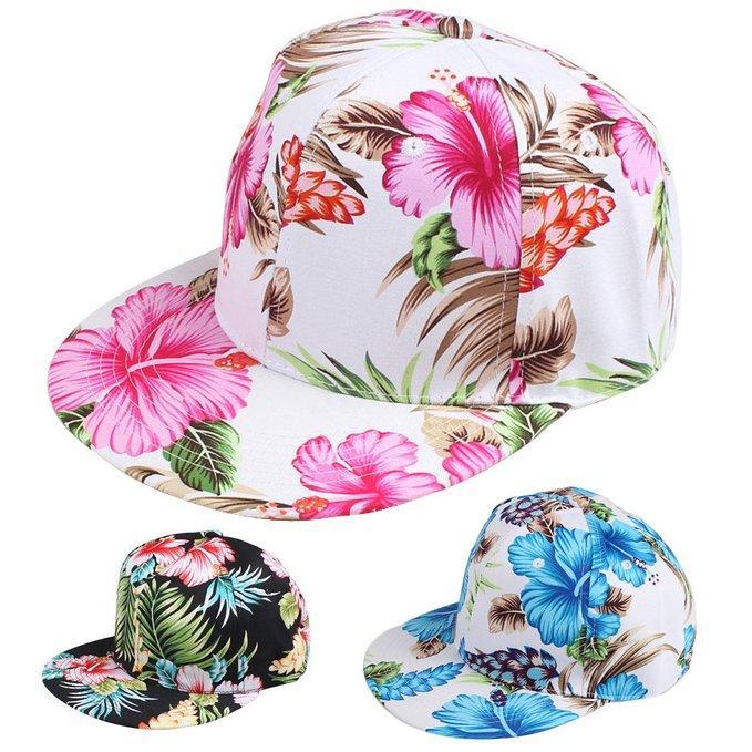 Flor Snapback Hat Cap Floral Print Gorra de béisbol 3 colores Envío gratis Envío gratis