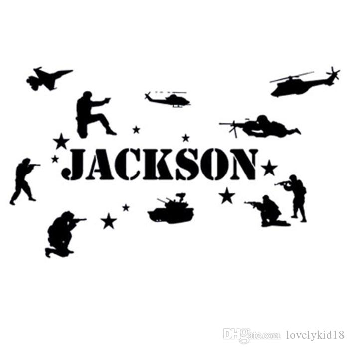 Large custom made name army wall stickers personalized military wall decals art home room decor ws392
