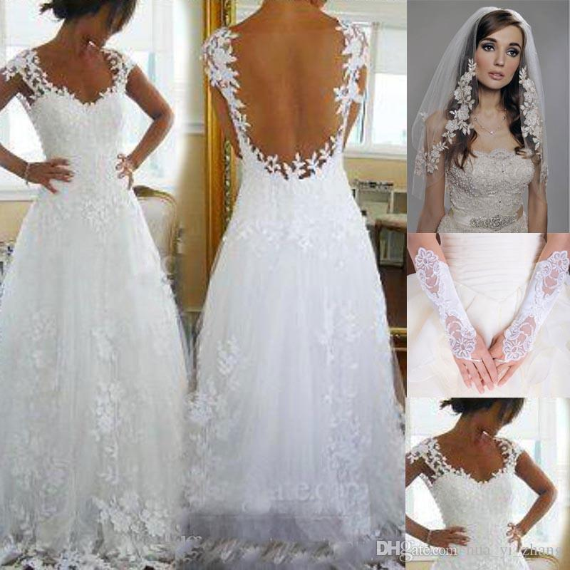 Discount 2016 Nicest Wedding Dresses Cheap Ever A Line V Neck Sheer Panel  Back Court Train Bridal Gowns Get Veil And Gloves For Free A Line Bridal ...