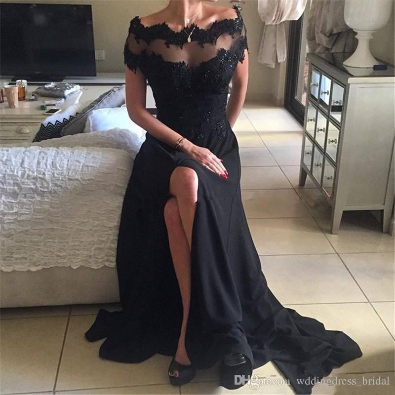 2019 Nouvelle Sexy Haute Split Noir Robes De Bal Hors Épaule Sheer Neck Floor Longueur Mousseline De Soie Robe De Soirée Longue Femmes Fête Formelle Robes Pas Cher