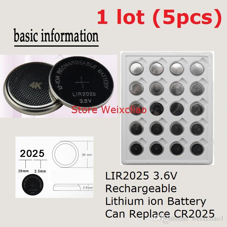 5pcs 1 lot LIR2025 3.6V Lithium li ion rechargeable button cell battery 2025 3.6 Volt li-ion coin batteries CR2025 Free Shipping