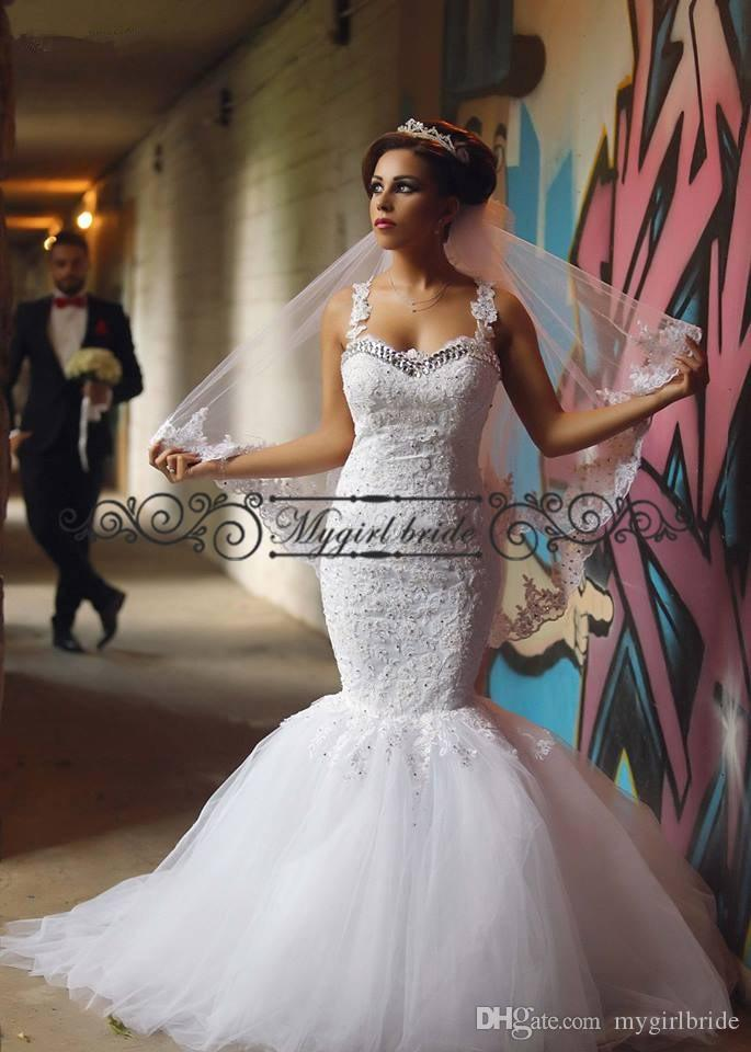 Bling Wedding Dress Sheer Rhinestone Mermaid Dresses Lace Elegant Sexy Backless Bridal Gown Court Train