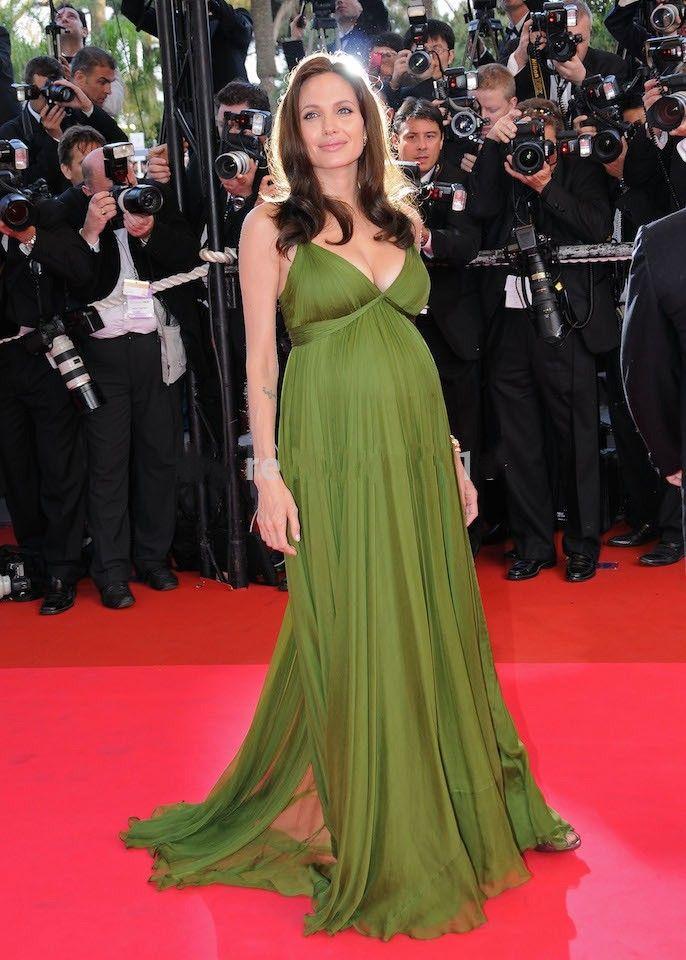 Angelina Jolie Green Soft Chiffon Maternity Evening Dresses 2016 ...