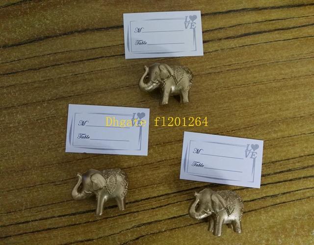 500pcs / lot Livraison gratuite Porte-cartes Porte-bonheur Décoration d'éléphant Golden Place Nom de titulaire