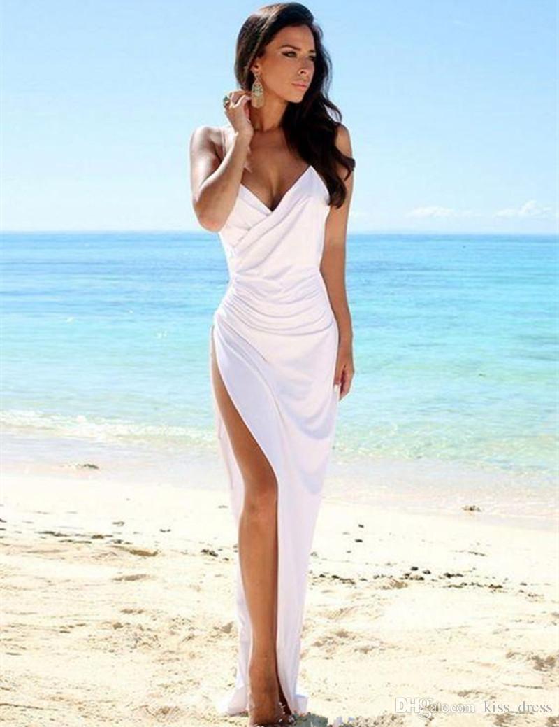 Sexy Style Casual Beach Wedding Dress Backless Spaghetti Straps ...