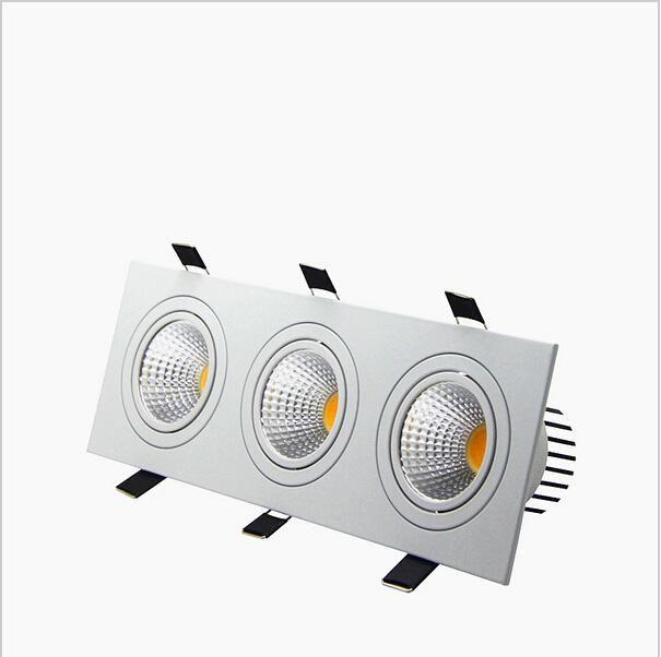 утопленное Сид dimmable Downlight 3 головки квадрата Сид Downlight 3 вниз освещает света удара 15W/21W/30W/36W потолочная лампа AC85-265V фары Сид шайба освещает