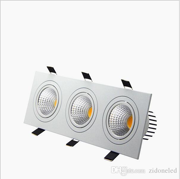 LED encastré Downmable Downlight Downlight 3 Head carré LED Down Lights COB 15W / 21W / 30W / 36W Spotlight Plafonnier de plafond AC85-265V