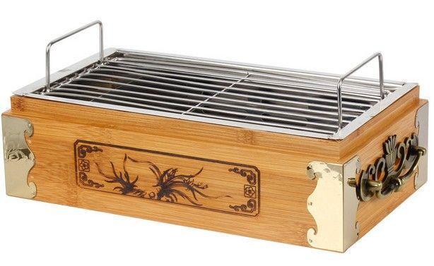 tragbarer Holzkohlegrill Grill mit Bambus-Box für Bar Haushalt im Freien Mini-Grill 033