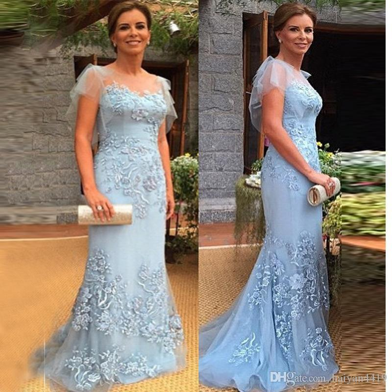 2020 New Cheap Sky Blue Mermaid Mother Of The Bride Dresses Jewel Cap Sleeves Lace Appliques Plus Size Party Dress Formal Evening Gowns