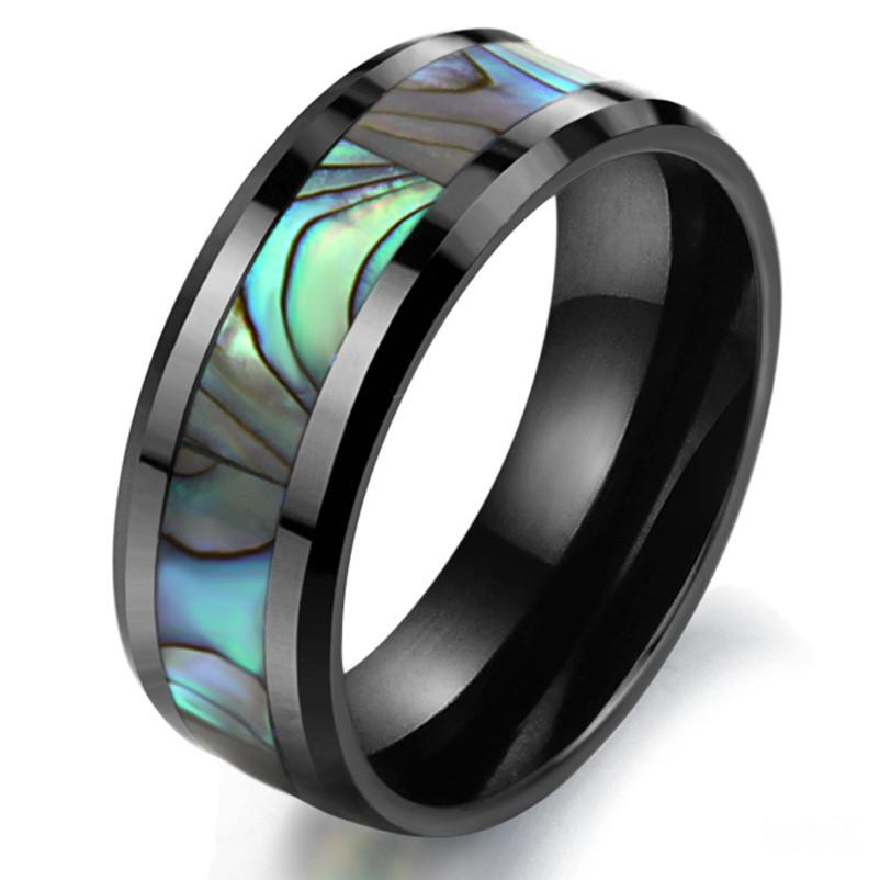 2016 Korean Jewelry Natural Shell Black Ceramic Ring Space Designer Jewelry Brands Shell Men Punk Rings Jewelry Wholesale Free Shipping