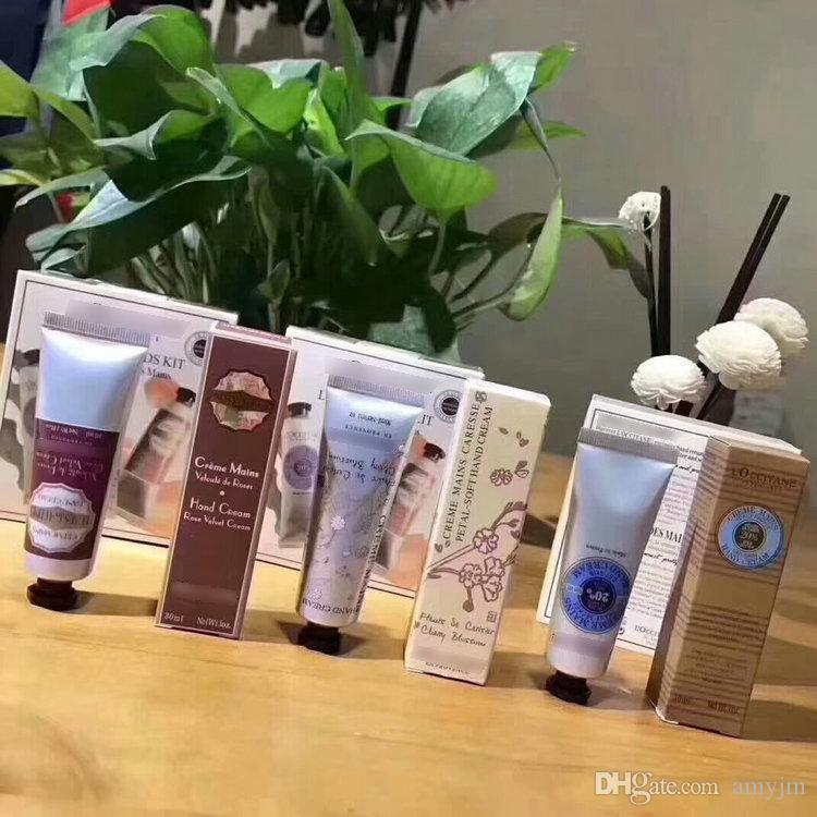 DHL 12set Famous Brand Shea Butter+Peony+rose hands cream with 6 pieces pack suit mini hand lotions free shopping 1box=6pcs 30ml/pcs