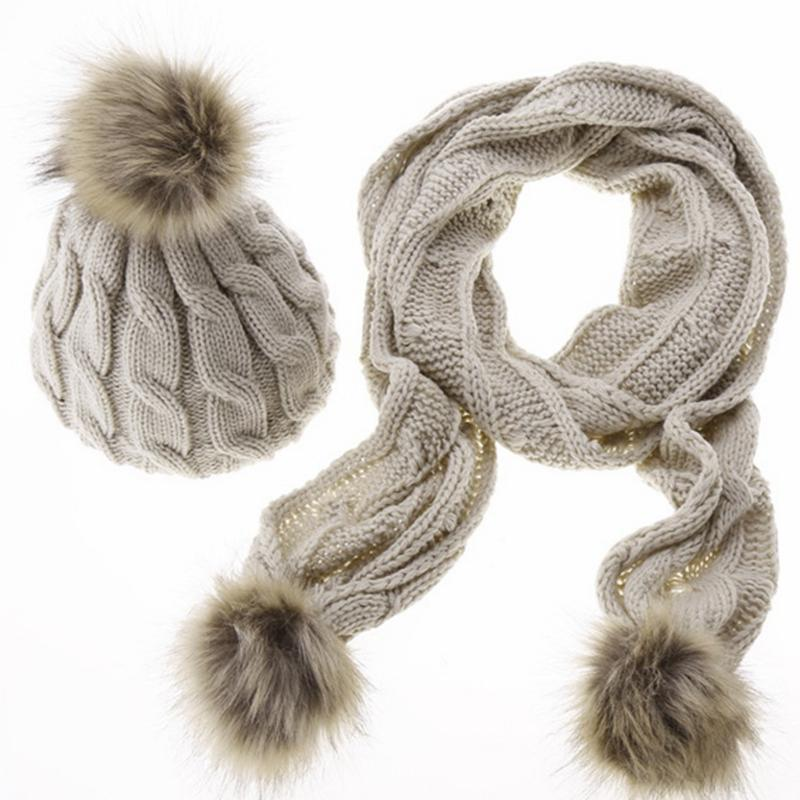 Wholesale-New Arrival Women Winter Hat Scarf Set Knitted Hat Fashion Lady Warm Hats Casual Cap Korean Style Winter Scarf Set For Women