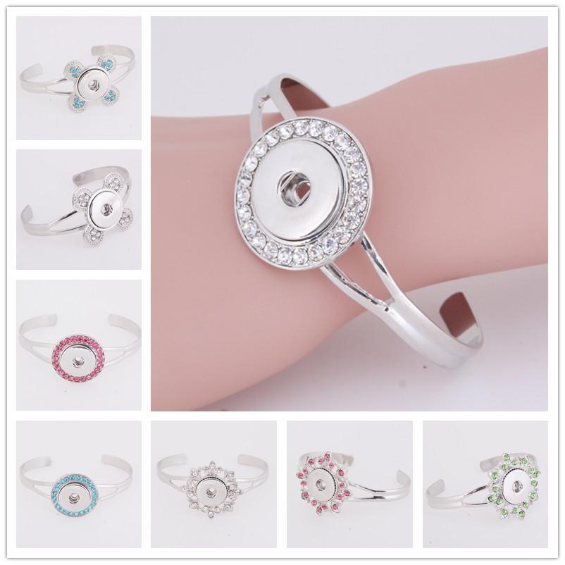 Mixed noosa pulseira pedaços botão snap jóias diy pulseira de prata banhado a cristal botão de pressão de gengibre pulseira de jóias intercambiáveis
