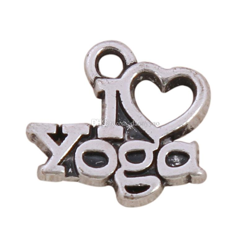 Alaşım Mektubu Charms I Love Yoga Mesaj Charms Toptan Vintage Spor Takı Charms 50 adet Bırak AAC863 Shiping