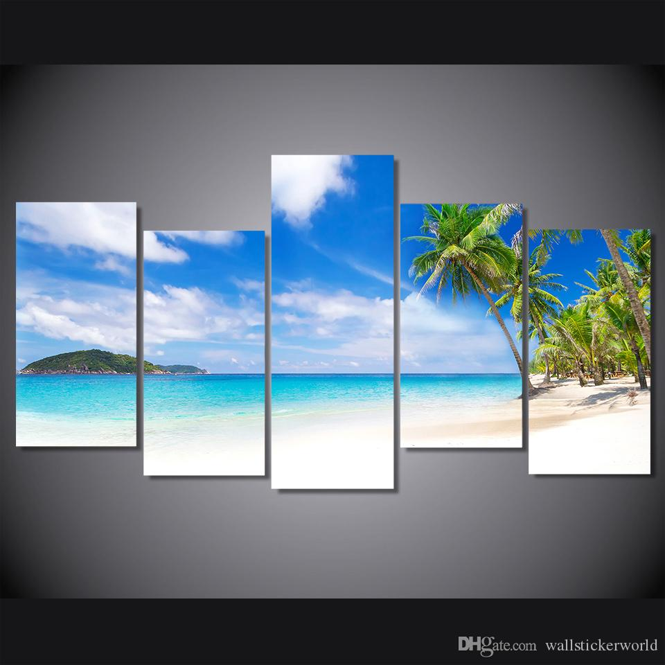 5 Pcs/Set Framed Printed Seascape summer beach sea shore Painting Canvas Print room decor print poster picture canvas Free shipping/ny-4332