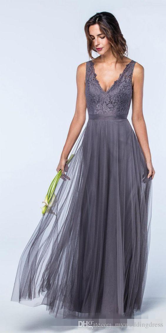 2018 Sexy Cheap V Neck Grey Top Lace Bridesmaid Dresses Long Formal ...