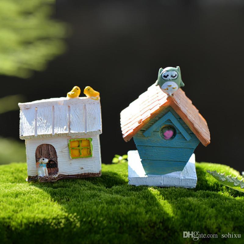 Птица Дом Коттедж Zakka смолы ремесло Фея сад миниатюры бонсай инструменты террариум статуэтки кукольный домик микро пейзаж сад гномов