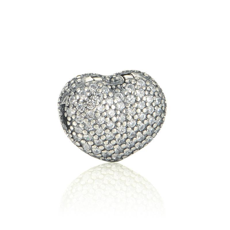 Heart charms clips 925 sterling silver fits original brand bracelet 791427CZ