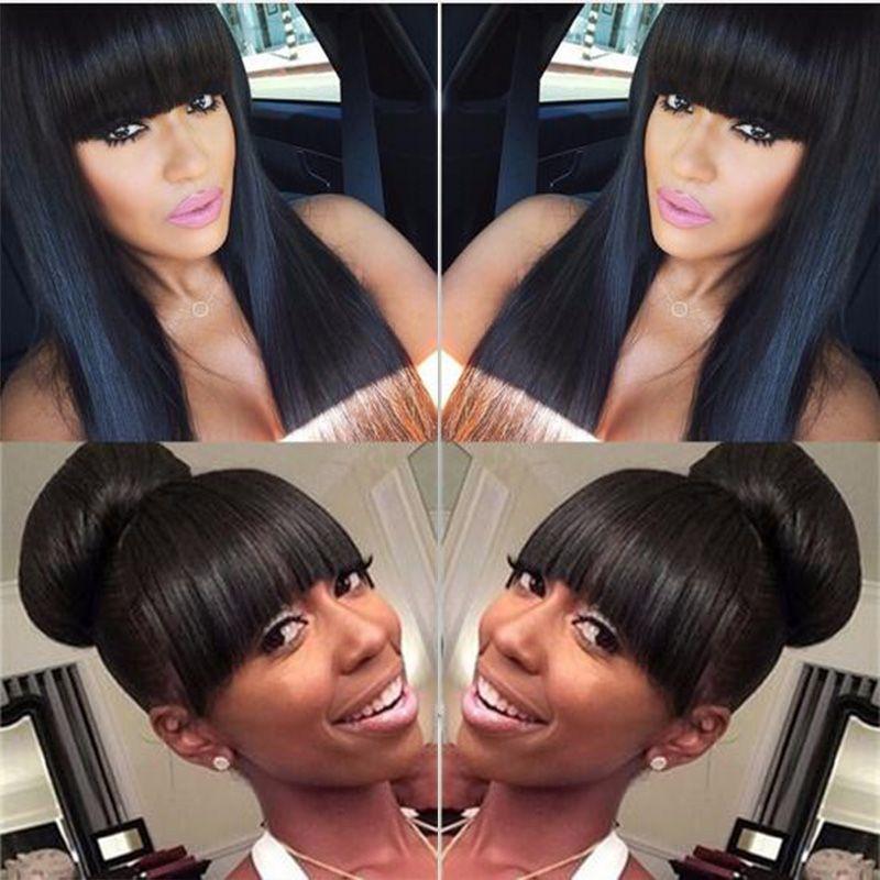 Urocza symulacja ludzki włosy peruka długie jedwabisty prosty pełna czarna peruka z grzywką w magazynie bezpłatna wysyłka