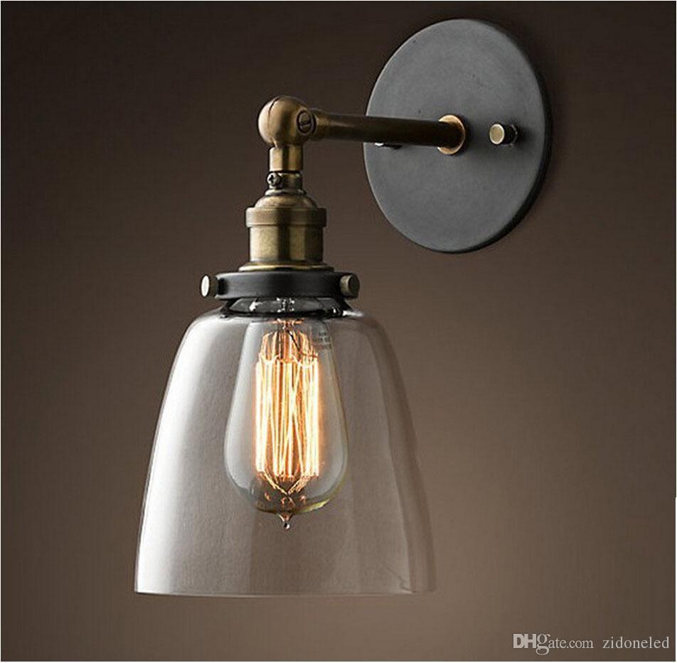 Loft Vintage llevó iluminación de pared Industrial Edison Glass Shade Loft Coffee Bar Wall Aplique de hierro DIY Lámpara de almacén de luz de pared e27