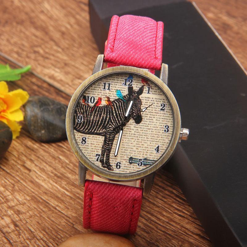 Gorące zegarki zegarki, mężczyźni i kobiety zegarki studentów, modne wzory retro zebry, imitacja kowbojski pas, tablica kochanków