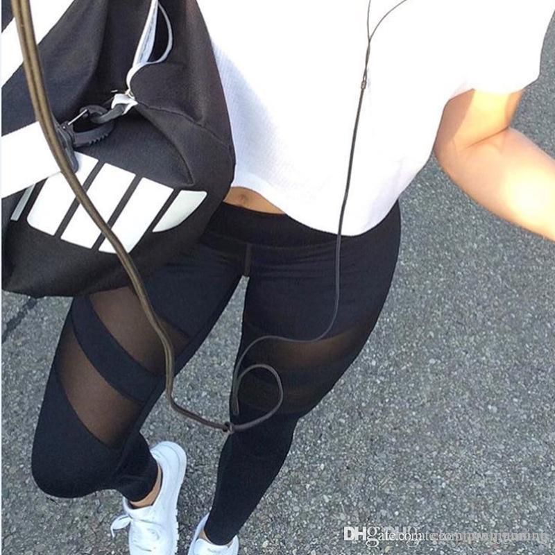 Yeni kadın eğitim seksi spor pantolon sıkı, Avrupa ve Amerika büyük metre hız kuru kadın giyim hollow perspektif yoga hareketleri, Le