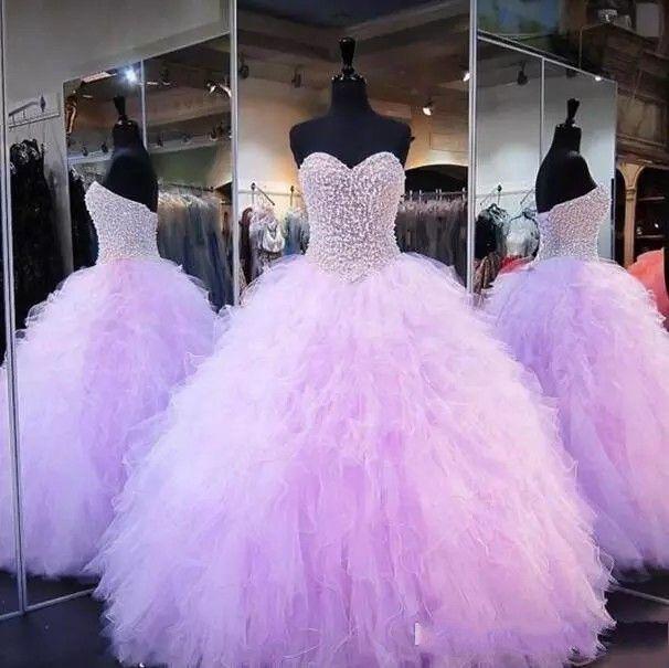 2017 라벤더 빈티지 공 가운 Quinceanera 드레스 진짜 그림 연인 레이스 Appliques Tulle Girl Sweet 16 Weddings 파티 이브닝 가운