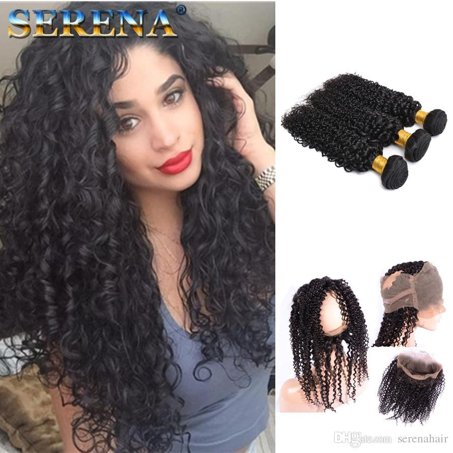 Malaysian 360 Curly Lace Front Front avec Bundles Blanchi Noeuds Afro Kinky Curly 3pcs Avec 360 Full Lace Band Fermeture Jerry Curl