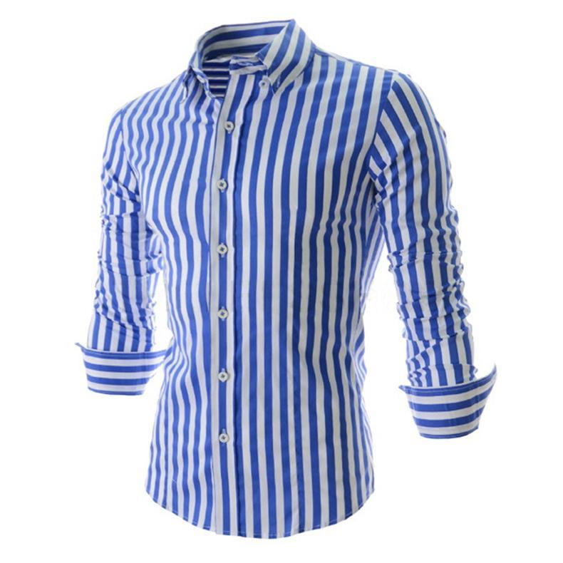 All'ingrosso 2017 Camicia a maniche lunghe a maniche lunghe da uomo in stile moda nuovo arrivo Camicia casual slim fit con colletto alla rovescia Camicia elegante