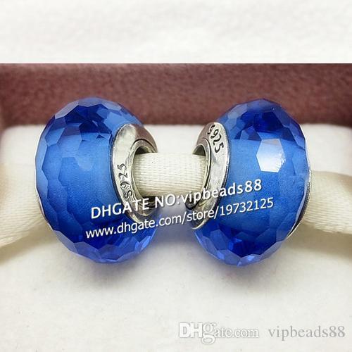 S925 gioielli in argento sterling moda blu con perle di vetro di murano sfaccettate europeo adatto braccialetti di fascino pandora fai da te ZS063