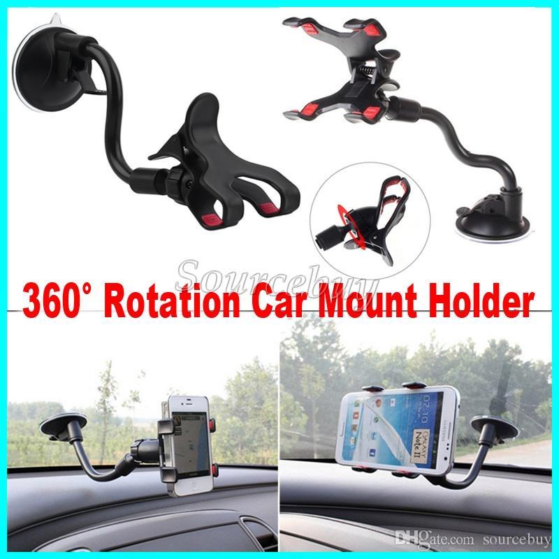 Pacchetto di vendita al dettaglio Supporto automatico Rotazione a 360 gradi Parabrezza ventosa Tubo morbido Doppie clip Staffa di montaggio a ventosa per telefono cellulare GPS PDA