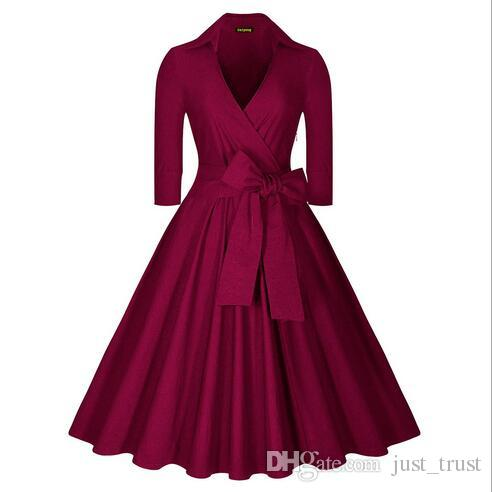 2016 Sales Autumn Fashion Classical long sleeve bowknot Pleated Dresses Retro Popular street style Casual Dresses Lady ball Everning Dresses
