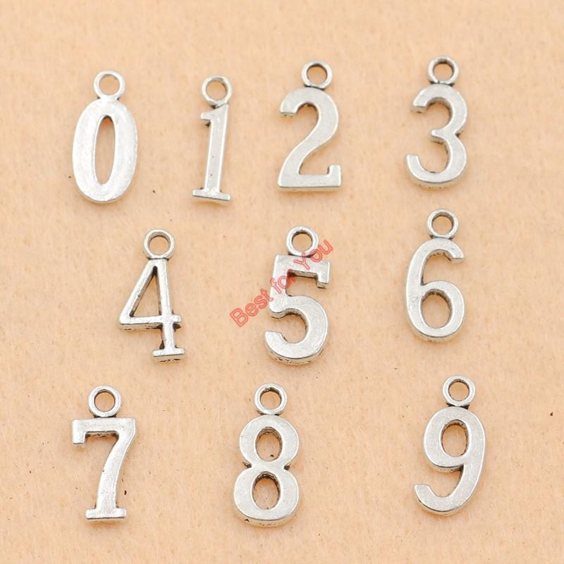 100 stücke Antikes Silber Überzogene Zahlen Charme Zink-legierung Anhänger Schmuck DIY Machen Zubehör Handgemachte 12x7mm schmuck machen