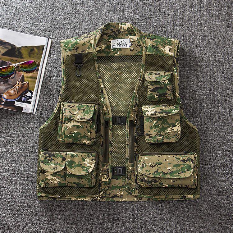 Wholesale-free shipping summer men's plus size fishing jacket Camouflage mesh vest outdoor casual multi-pocket waistcoat men Hot