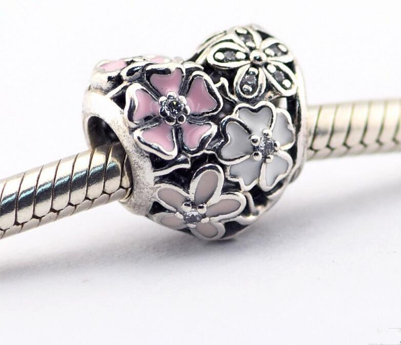 Pandora Rose Poétique Fleurs Charms 925 en argent sterling perles lâches pour fil bracelet fashon bijoux authentique qualité 2016 Nouveau Printemps